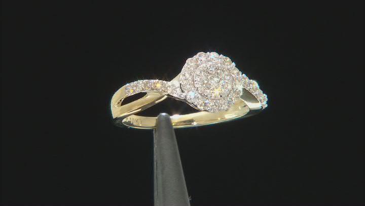 White Diamond 10K Yellow Gold Cluster Ring 0.50ctw