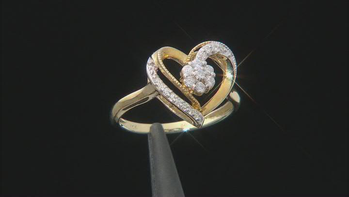 White Diamond 10K Yellow Gold Open Design Heart Ring 0.25ctw
