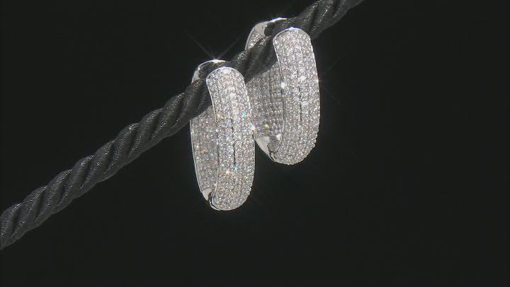 White Diamond 10K White Gold Inside-Out Hoop Earrings 2.30ctw