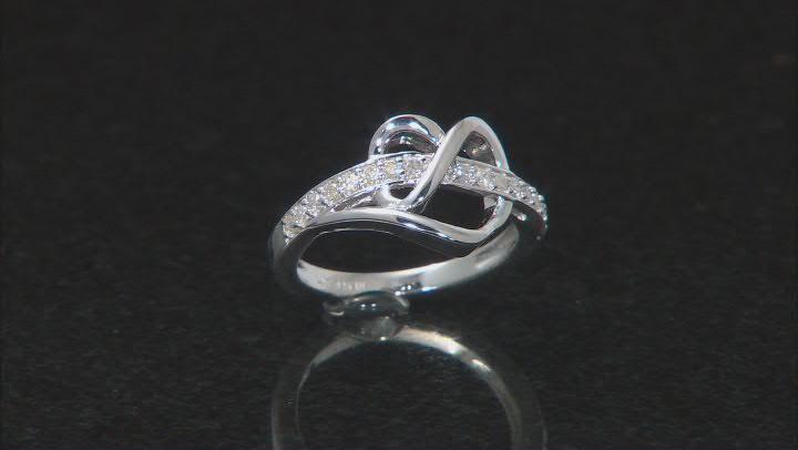 White Diamond Rhodium Over Sterling Silver Open Design Heart Ring 0.30ctw