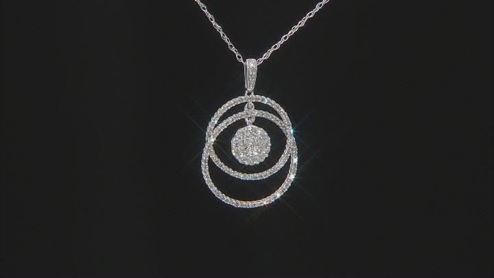 White Diamond 10K White Gold Interlocking Circle With Dangling Cluster Pendant 0.50ctw
