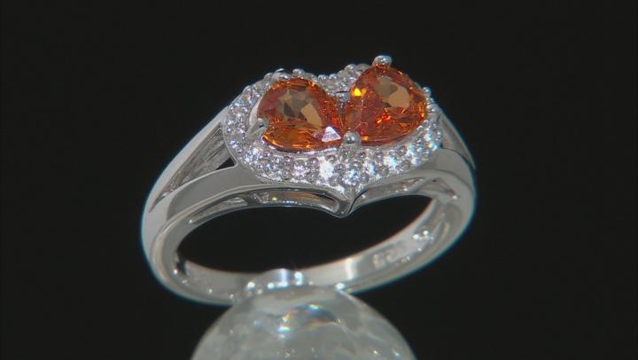 Orange Mandarin Garnet Sterling Silver Heart Shape Ring 1.49ctw