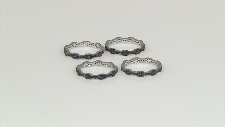 Black Spinel Sterling Silver 4 Ring Set   2.02ctw
