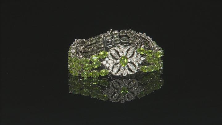 Green Peridot Sterling Silver Bracelet 41.55ctw