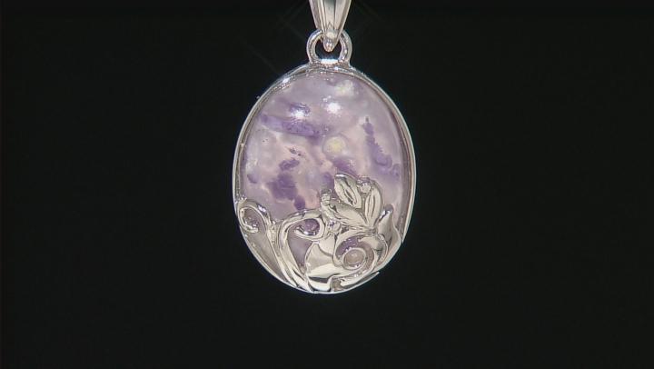 Purple Morado Opal Silver Solitaire Pendant With Chain