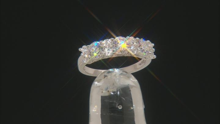 Fabulite Strontium Titanate And White Zircon Rhodium Over Silver Ring 2.79ctw