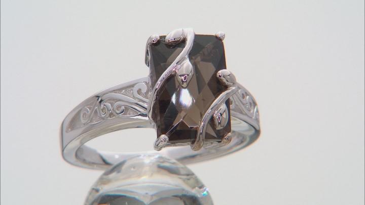 Brown Smoky Quartz Rhodium Over Sterling Silver Ring 3.24ct