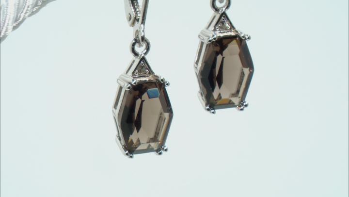 Brown Smoky Quartz Rhodium Over Silver Earrings 2.64ctw