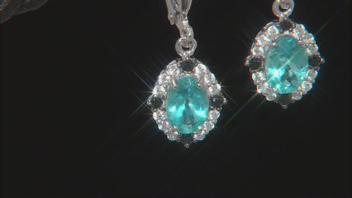 Blue Paraiba Color Apatite Sterling Silver Dangle Earrings 1.59ctw