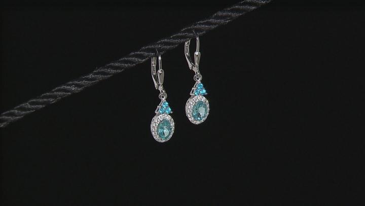 Blue Paraiba Color Apatite Sterling Silver Earrings 1.79ctw