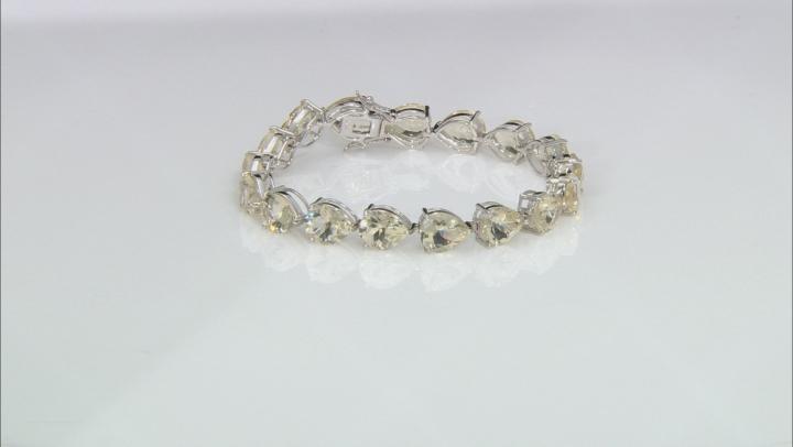 Yellow Labradorite Rhodium Over Sterling Silver Bracelet 43.00ctw