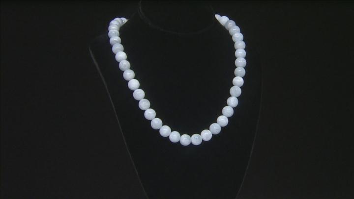 Blue Brazilian Aquamarine Bead Rhodium Over Sterling Silver Necklace 500.00ctw