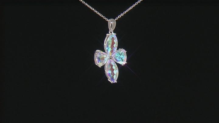 Multi-color Mercury Mist® Mystic Topaz® Silver Pendant With Chain 14.62ctw