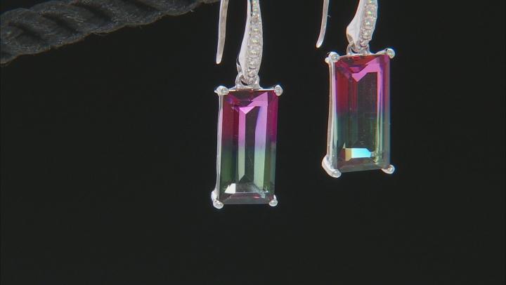Bi-Color Watermelon Quartz Sterling Silver Dangle Earrings 3.70ctw