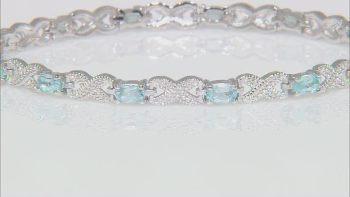 Blue Topaz Rhodium Over Sterling Silver Station Bracelet 3.16ctw