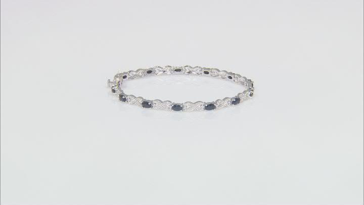 Blue Sapphire Rhodium Over Sterling Silver Station Bracelet 4.05ctw