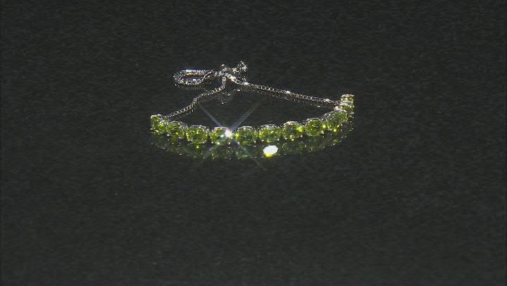 Green Peridot Rhodium Over Sterling Silver Bolo Bracelet. 7.15ctw