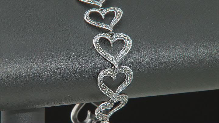 Marcasite Rhodium Over Sterling Silver Heart Shaped Bracelet 1.3mm