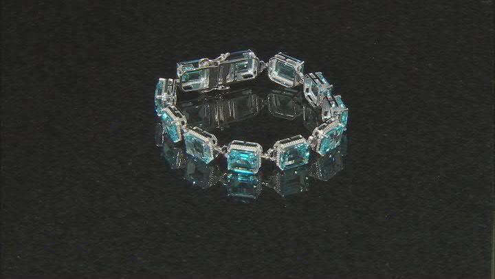 Blue Topaz Rhodium Over Sterling Silver Bracelet 74.30ctw