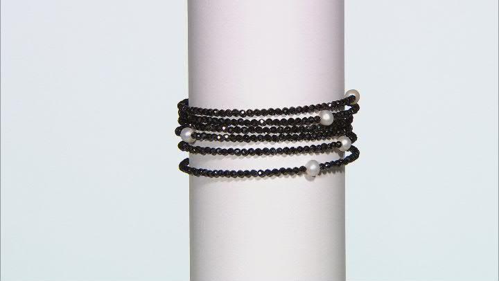 Black Spinel Stainless Steel Beaded Wrap Bracelet.