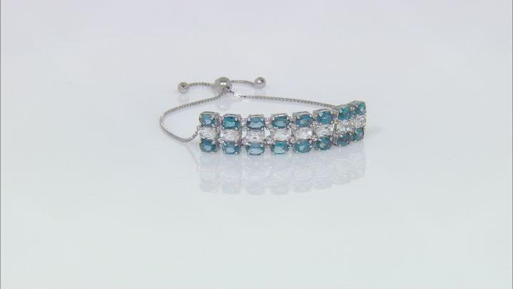 London Blue Topaz Rhodium Over Sterling Silver Bolo Bracelet. 13.00ctw