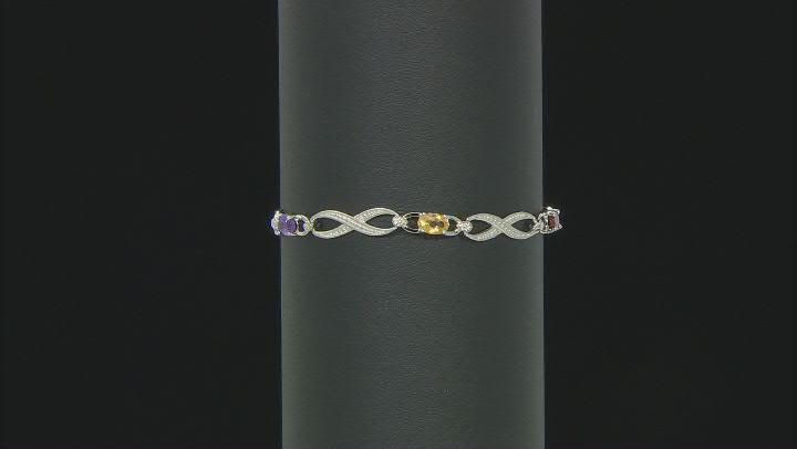Purple Amethyst Sterling Silver Line Bracelet 2.46ctw