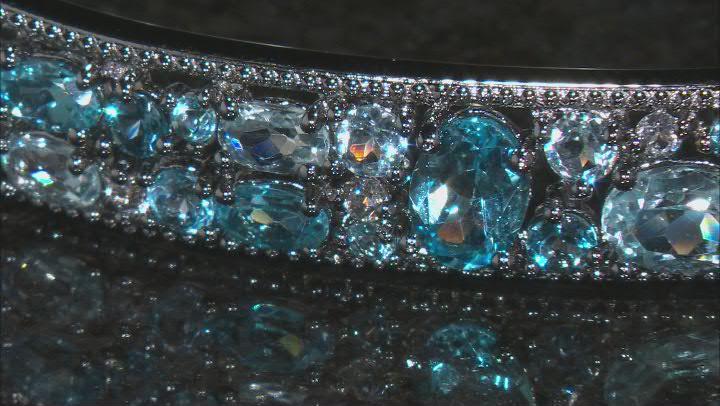 Blue Topaz Rhodium Over Silver Bracelet 13.59ctw