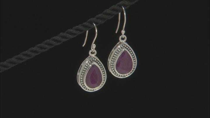 Red Ruby Sterling Silver Earrings 8.00ctw
