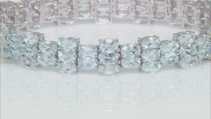 Blue Aquamarine Rhodium Over Sterling Silver Bracelet 15.85ctw