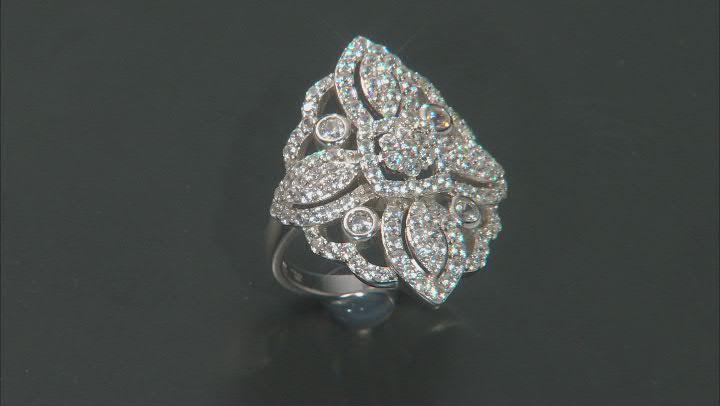 White Zircon Rhodium Over Sterling Silver Ring 3.00ctw
