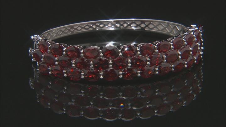 Red Garnet Rhodium Over Sterling Silver Bracelet 27.00ctw