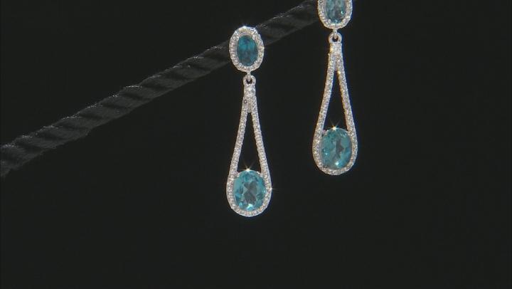 London Blue Topaz Rhodium Over Sterling Silver Earrings 5.60ctw