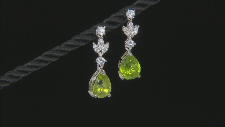 Peridot Rhodium Over Sterling Silver Dangle Earrings 8.00ctw