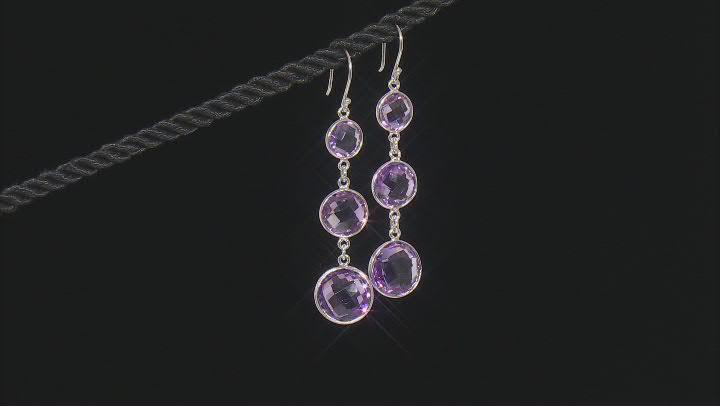 Amethyst Rhodium Over Sterling Silver Dangle Earrings 20.00ctw