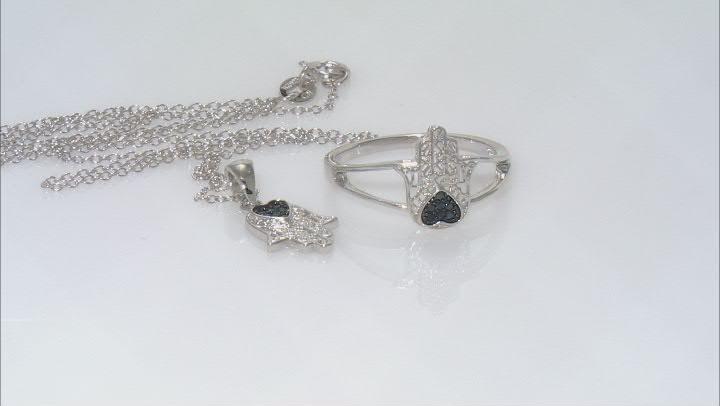 Black Spinel Rhodium Over Silver Hamsa Hand Jewelry Set 0.07ctw