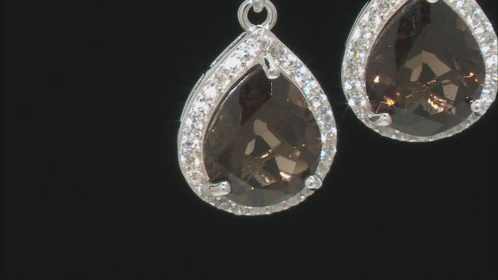 Smoky Quartz Rhodium Over Silver Dangle Earrings 6.07ctw