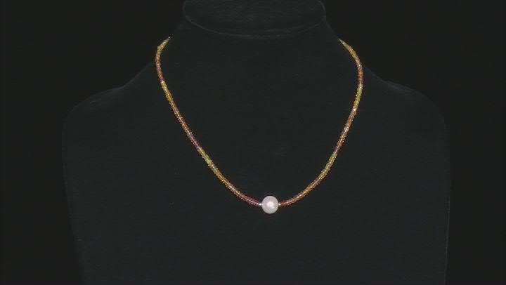 Multi Color Sapphire Rhodium Over Silver Necklace