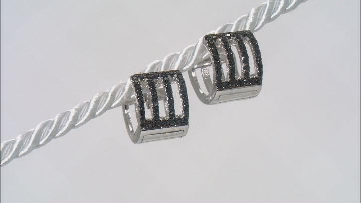 Black Spinel Rhodium Over Sterling Silver Huggie Earrings 0.47ctw