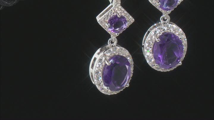 Amethyst Rhodium Over Silver Earrings 6.30ctw