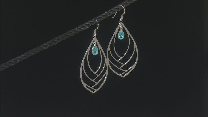 Swiss Blue Topaz Rhodium Over Silver Dangle Earrings 1.80ctw