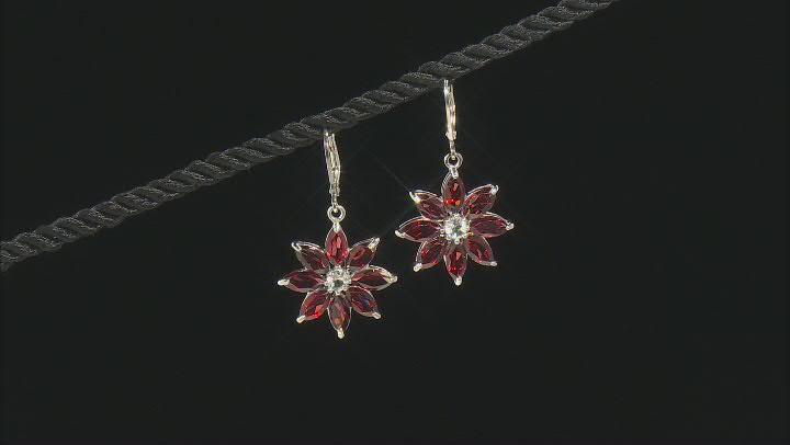Red Garnet Rhodium Over Silver Flower Earrings 9.70ctw