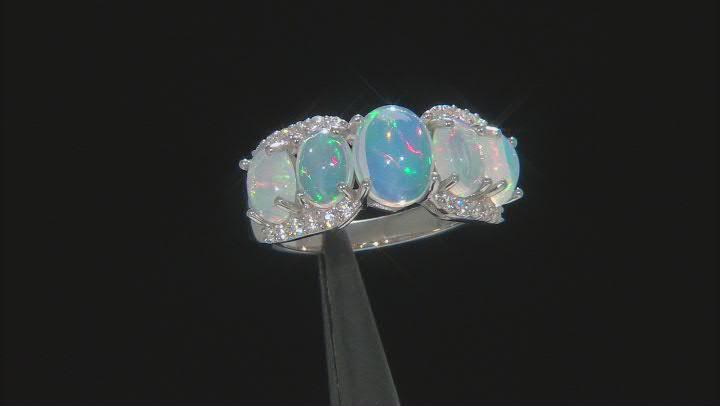 Ethiopian Opal Rhodium Over Silver Ring 0.48ctw