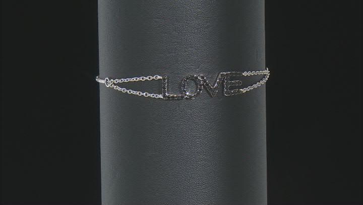 Black Spinel Rhodium Over Silver Bracelet 0.08ctw