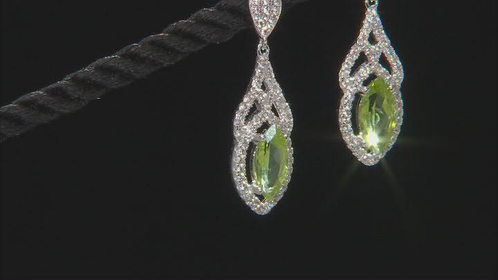 Peridot Rhodium Over Silver Dangle Earrings 2.90ctw