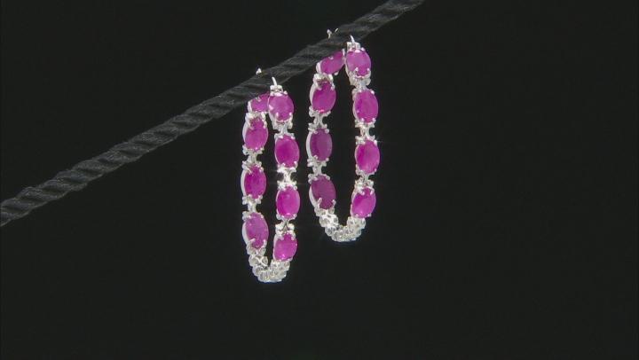 Burma Ruby Rhodium Over Sterling Silver Hoop Earrings 10ctw