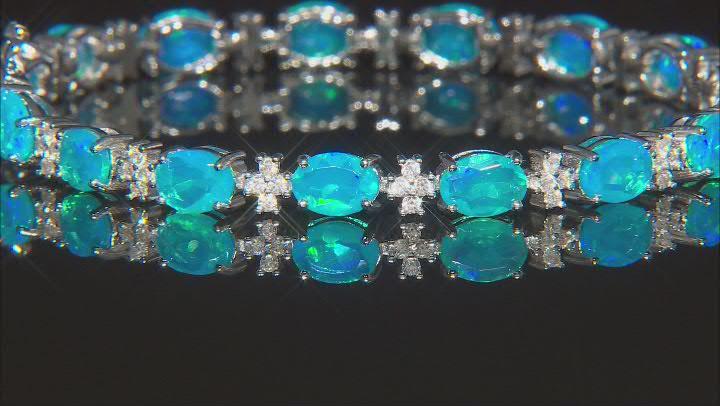 Paraiba Blue Color Opal Rhodium Over Silver Station Bracelet