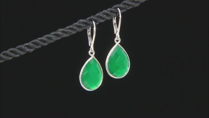 Green Onyx Rhodium Over Sterling Silver Dangle Earrings