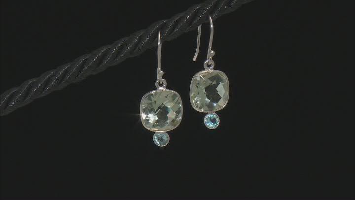 Green Prasiolite Rhodium Over Sterling Silver Dangle Earrings 10.00ctw