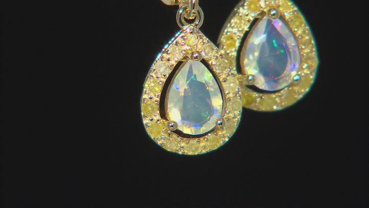 Ethiopian Opal 18K Yellow Gold Over Sterling Silver Earrings. 0.45ctw