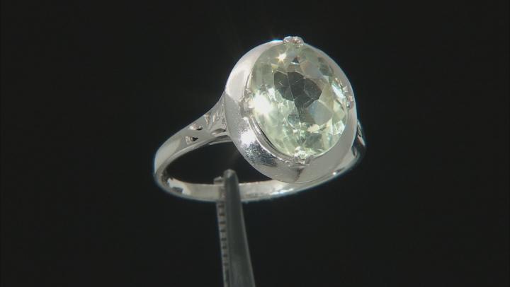 Green Prasiolite Rhodium Over Sterling Silver Ring 3.70ct